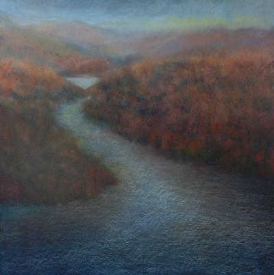 Adirondack Dawn, oil pastel, 30x36